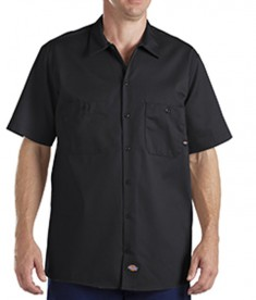 Dickies Drop Ship 6 oz. Industrial Short-Sleeve Cotton Work Shirt Black