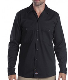 Dickies Drop Ship 6 oz. Tall Industrial Long-Sleeve Cotton Work Shirt Black