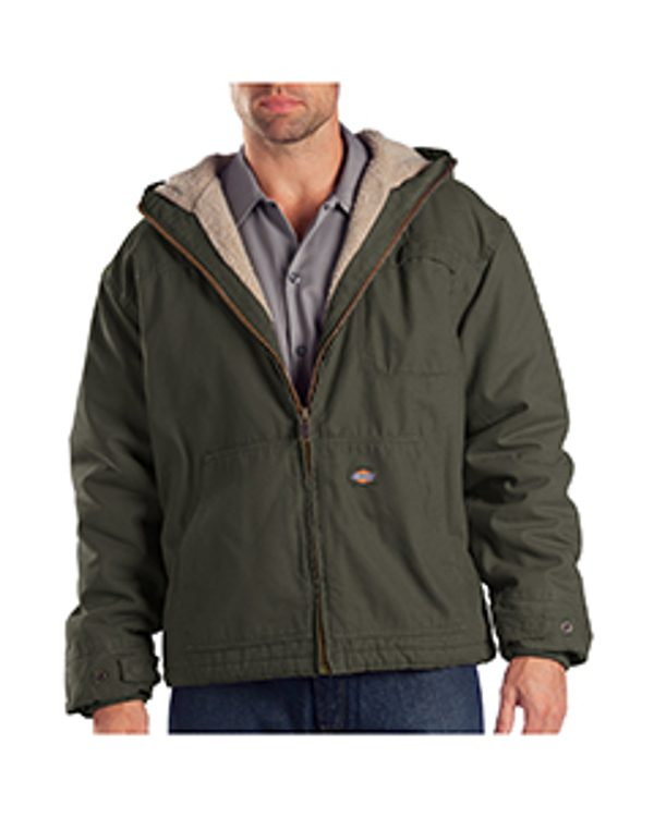 Dickies Drop Ship 8.5 oz. Sanded Duck Sherpa Lined Hooded Jacket Black Olive