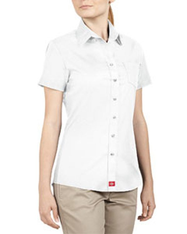 Dickies Drop Ship Ladies' Short-Sleeve Button Down Shirt White