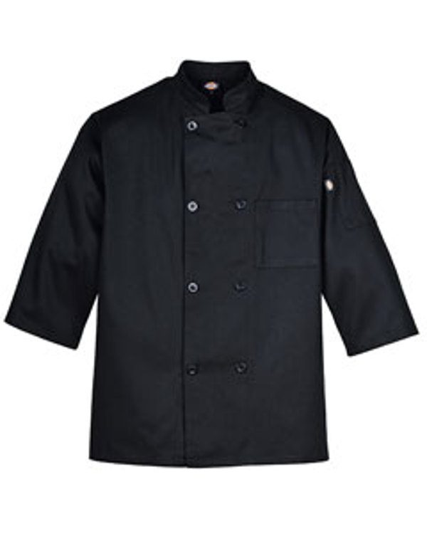 Dickies Drop Ship Long-Sleeve 8-Button Chef Coat Black