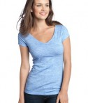 District - Juniors Extreme Heather Cap Sleeve V-Neck Tee Style DT2001 Blue