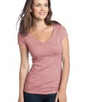 District - Juniors Extreme Heather Cap Sleeve V-Neck Tee Style DT2001 Deep Berry