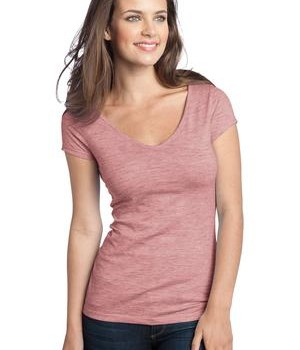 District – Juniors Extreme Heather Cap Sleeve V-Neck Tee Style DT2001 Deep Berry