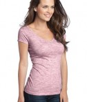 District - Juniors Extreme Heather Cap Sleeve V-Neck Tee Style DT2001 Deep Berry Angle