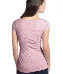 District - Juniors Extreme Heather Cap Sleeve V-Neck Tee Style DT2001 Deep Berry Back