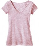 District - Juniors Extreme Heather Cap Sleeve V-Neck Tee Style DT2001 Deep Berry Flat