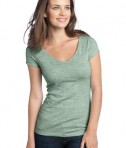 District - Juniors Extreme Heather Cap Sleeve V-Neck Tee Style DT2001 Green