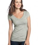 District - Juniors Extreme Heather Cap Sleeve V-Neck Tee Style DT2001 Grey
