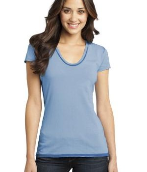District – Juniors Faded Rounded Deep V-Neck Tee Style DT2202 Blue