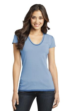 District - Juniors Faded Rounded Deep V-Neck Tee Style DT2202 Blue