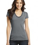 District - Juniors Faded Rounded Deep V-Neck Tee Style DT2202 Charcoal