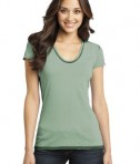 District - Juniors Faded Rounded Deep V-Neck Tee Style DT2202 Forest Green