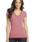 District - Juniors Faded Rounded Deep V-Neck Tee Style DT2202 Red