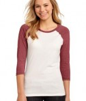 District - Juniors 50/50 3/4-Sleeve Raglan Tee Style DT228 Heathered Red White