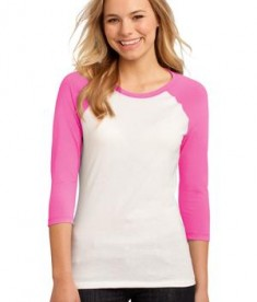 District - Juniors 50/50 3/4-Sleeve Raglan Tee Style DT228 Pink White