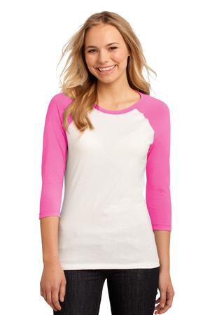 District – Juniors 50/50 3/4-Sleeve Raglan Tee Style DT228 Pink White