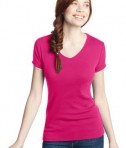 District - Juniors 1x1 Rib V-Neck Tee Style DT234V Dark Fuchsia