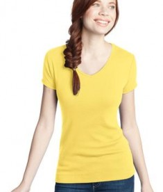 District - Juniors 1x1 Rib V-Neck Tee Style DT234V Yellow