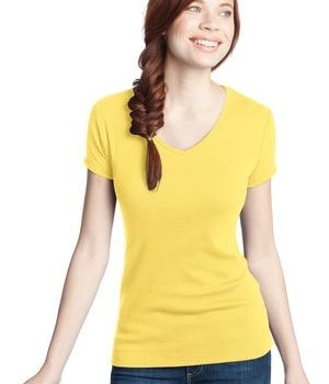 District – Juniors 1×1 Rib V-Neck Tee Style DT234V Yellow