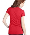 District - Juniors 60/40 Scoop Tee Style DT245 Bright Coral Back