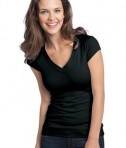 District - Juniors Cotton/Spandex Banded V-Neck Tee Style DT247 Black