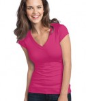 District - Juniors Cotton/Spandex Banded V-Neck Tee Style DT247 Dark Fuchsia