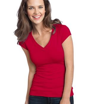 District – Juniors Cotton/Spandex Banded V-Neck Tee Style DT247 New Red