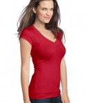 District - Juniors Cotton/Spandex Banded V-Neck Tee Style DT247 New Red Angle
