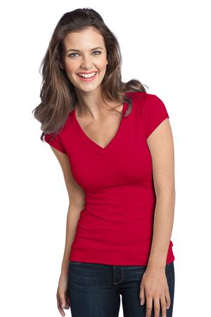 District - Juniors Cotton/Spandex Banded V-Neck Tee Style DT247 New Red