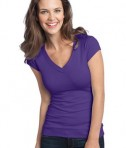 District - Juniors Cotton/Spandex Banded V-Neck Tee Style DT247 Purple