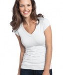District - Juniors Cotton/Spandex Banded V-Neck Tee Style DT247 White