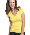 District - Juniors Cotton/Spandex Banded V-Neck Tee Style DT247 Yellow