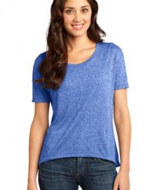 District - Juniors Microburn Wide Neck Hi/Lo Tee Style DT260 Heathered Deep Royal