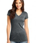 District - Juniors Microburn V-Neck Cap Sleeve Tee Style DT261 Heathered Black