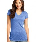 District - Juniors Microburn V-Neck Cap Sleeve Tee Style DT261 Heathered Deep Royal