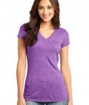 District - Juniors Microburn V-Neck Cap Sleeve Tee Style DT261 Heathered Purple Orchid