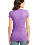 District - Juniors Microburn V-Neck Cap Sleeve Tee Style DT261 Heathered Purple Orchid Back