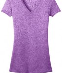 District - Juniors Microburn V-Neck Cap Sleeve Tee Style DT261 Heathered Purple Orchid Flat Front