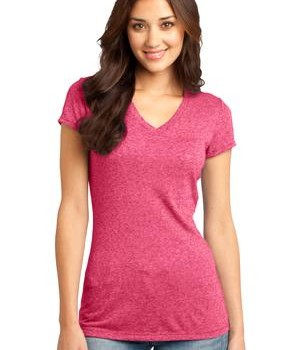 District – Juniors Microburn V-Neck Cap Sleeve Tee Style DT261 Heathered Watermelon