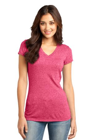 District - Juniors Microburn V-Neck Cap Sleeve Tee Style DT261 Heathered Watermelon