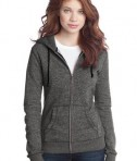 District - Juniors Marled Fleece Full-Zip Hoodie Style DT292 Marbled Black