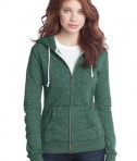 District - Juniors Marled Fleece Full-Zip Hoodie Style DT292 Marbled Evergreen