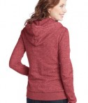 District - Juniors Marled Fleece Full-Zip Hoodie Style DT292 Marbled Red Back