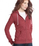 District - Juniors Marled Fleece Full-Zip Hoodie Style DT292 Marbled Red Model