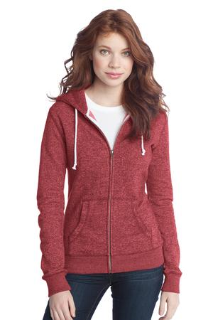 District - Juniors Marled Fleece Full-Zip Hoodie Style DT292 Marbled Red