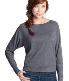 District - Juniors Textured Wide Neck Long Sleeve Raglan Style DT272