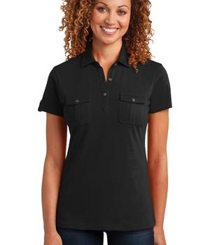 District Made Ladies Double Pocket Polo Style DM433 1