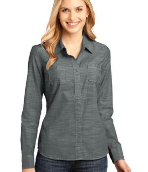 District Made – Ladies Long Sleeve Washed Woven Shirt Style DM4800 1