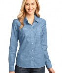 District Made - Ladies Long Sleeve Washed Woven Shirt Style DM4800